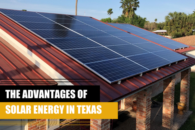 A house with solar panels, representing the advantages of solar energy in Texas.
