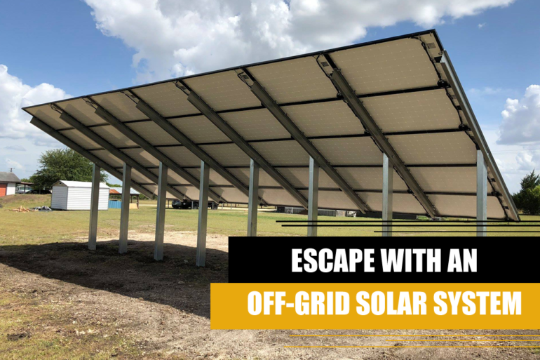 escape with a off grid solar