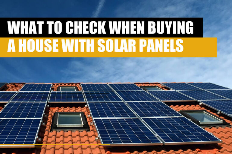 A house roof with solar a solar system, representing all things to check when buying a house with solar panels.